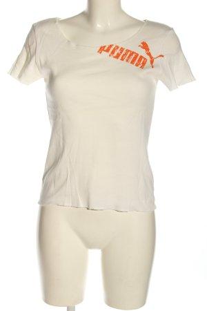 Puma T-Shirt weiß-hellorange Motivdruck Casual-Look