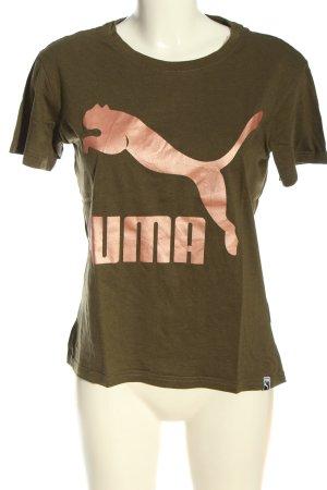 Puma T-Shirt khaki-nude Schriftzug gedruckt Casual-Look