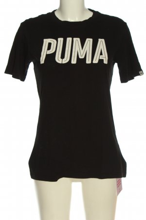 Puma T-Shirt schwarz-weiß Schriftzug gedruckt Elegant