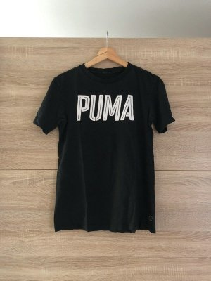 Puma t-shirt mit weißem Logo Aufdruck, schwarz