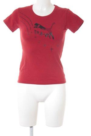 Puma T-Shirt rot-schwarz platzierter Druck Casual-Look