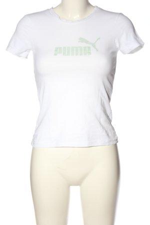 Puma T-Shirt weiß-grün Schriftzug gedruckt Casual-Look