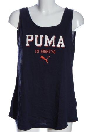 Puma Top na ramiączkach niebieski-biały Wydrukowane logo W stylu casual