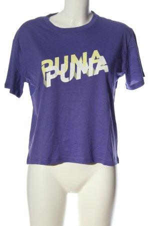 Puma T-Shirt lila Schriftzug gedruckt Casual-Look