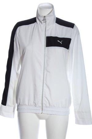 Puma Übergangsjacke weiß-schwarz Schriftzug gestickt Casual-Look