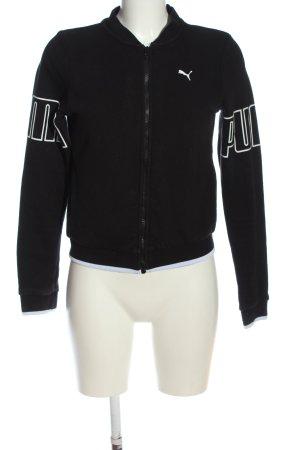 Puma Übergangsjacke schwarz-weiß Schriftzug gedruckt Casual-Look