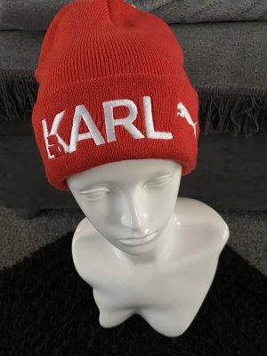 Karl Lagerfeld Czapka typu beanie czerwony-biały Poliakryl