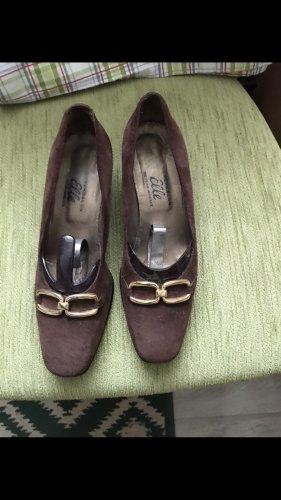 2 Elles Półbuty na niskiej koturnie brązowy