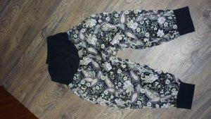 Pantalon large noir-blanc cassé