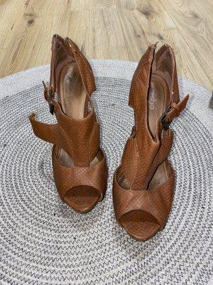 Alisha Peep Toe Pumps cognac-coloured