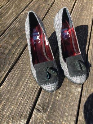Heine Collection Chaussure à talons carrés noir-gris