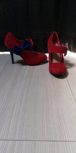Backless Pumps red-blue