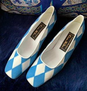 Lina Miles Tacones Mary Jane blanco-azul neón