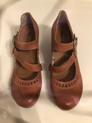 Tamaris Backless Pumps cognac-coloured