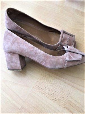 Gesp-pumps stoffig roze Suede