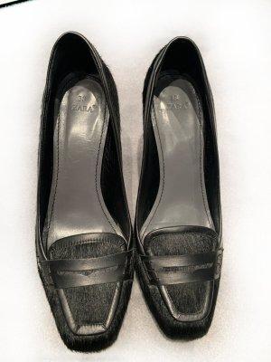 Pumps aus echtem Fell, Gr. 38, Loafers, schwarz, Top-Zustand!