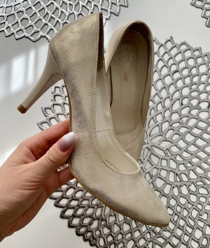High-Front Pumps gold-colored-cream