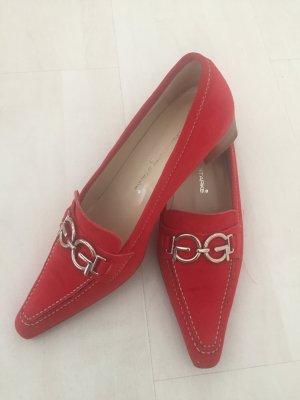 Konstantin Starke Chaussure à talons carrés rouge cuir