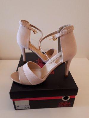 Buffalo Zapatos de tacón con barra en T rosa empolvado