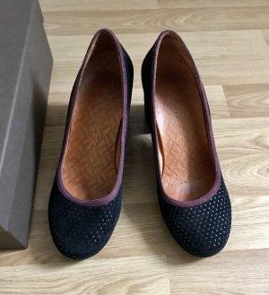 Chie Mihara Loafers zwart-braambesrood