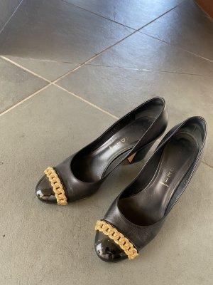 Casadei Classic Court Shoe black-gold-colored