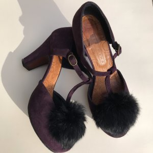 Chie Mihara Platform Pumps brown violet leather