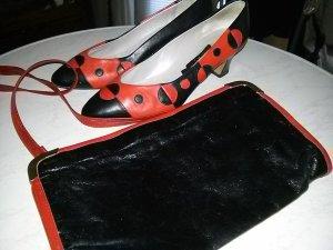 Pumps Creation Studio K & S Schuhmanufaktur Echtleder schwarz/rot mit Handtasche