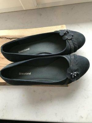 Graceland Zapatos de cuña azul oscuro tejido mezclado
