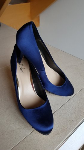 Pumps#High Heels#Glitzer#Midnight Blue#Satin