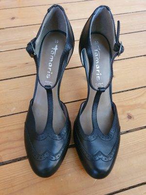 Tamaris Zapatos de tacón con barra en T negro Cuero