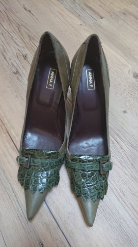 Anna F. Spitse pumps donkerbruin-khaki