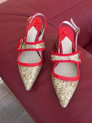 Slingback pumps goud-rood