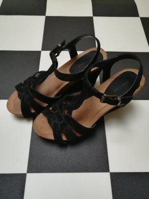 Graceland Escarpin compensé noir-marron clair