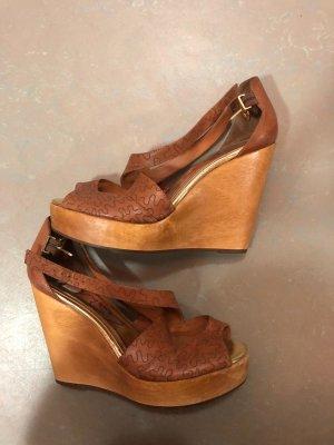 Zapatos de cuña marrón-marrón claro madera