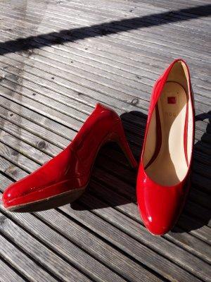Pumps NP 159 € ! High Heels von Högl Leder Lack Leder echtleder Größe 37 4,5 rot sehr hoher Neupreis 9 cm