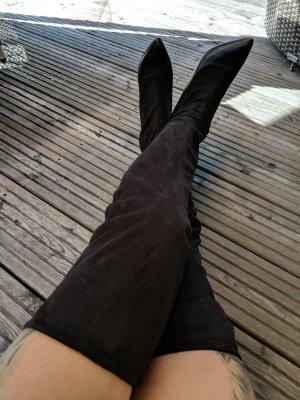 Pumps overknees Stiefel über Knie s Oliver schwarz Größe 37 Stretch sexy Spitze Stiefel