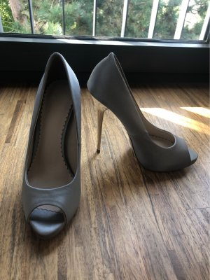 Pumps Peep-Toe High Heels Silber Grau