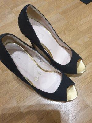 pumps schwarz gold 36