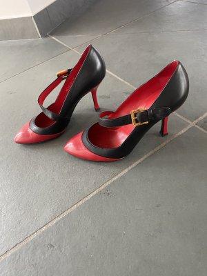 Sergio Rossi Tacones Mary Jane negro-rojo oscuro