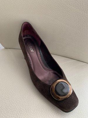 Gabor Zapatos estilo Oxford color bronce-marrón oscuro Cuero