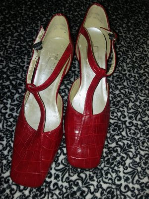 Graceland Tacones de tiras rojo-rojo ladrillo tejido mezclado