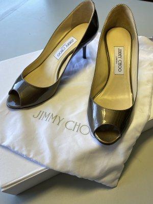 Jimmy Choo Peep Toe Pumps bronze-colored