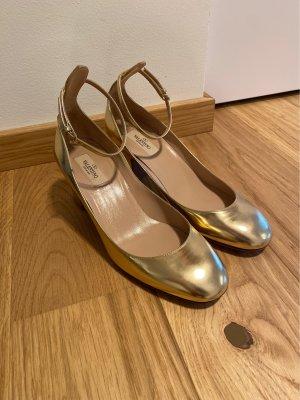 Valentino Garavani Tacones de tiras color oro