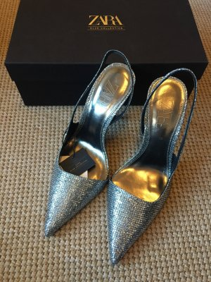 Zara Slingback Pumps silver-colored