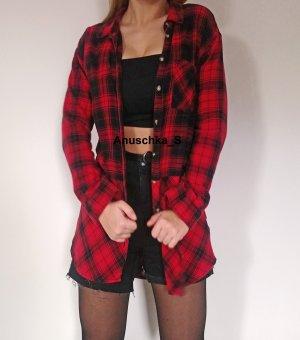 Punkiges Karohemd Kleid Minikleid kariert rot schwarz oversized Baumwolle Flanellhemd