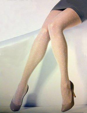 Punkte Strumpfhose Damen beige nude kleine Polka Dots h m 36 38 40 S MS NEU OVP
