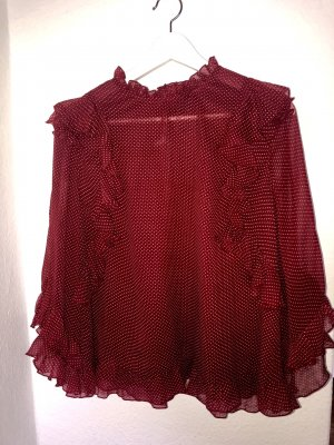 Marc Cain Ruche blouse rood-wit