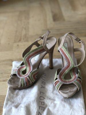 Pura Lopez beige Leder high heals sandalen / riemchen sandalen/ sandaletten 38