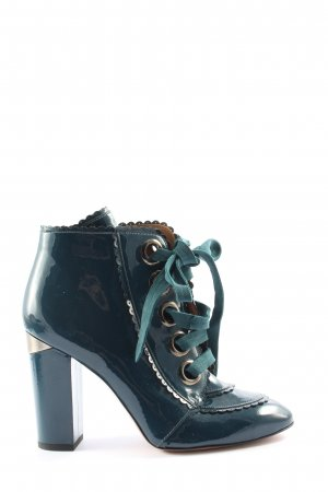 Pura Lopez Sznurowane botki niebieski W stylu casual