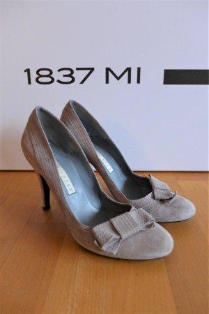 Pura Lopez Schuhe Pumps Highheels  grau rund Schleife Gr. 39